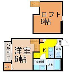 愛知県名古屋市北区山田西町3丁目の賃貸アパートの間取り