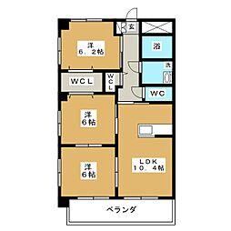 ブルースカイマンションVII[1階]の間取り