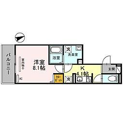 (仮称)D-room一乗寺高槻町 3階1Kの間取り