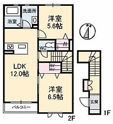仮)ガーデンズK A棟[202号室]の間取り