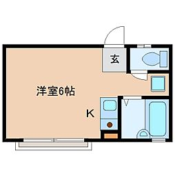 近鉄生駒線 菜畑駅 徒歩2分の賃貸アパート 1階ワンルームの間取り