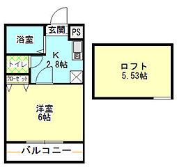 旭区二俣川 サンヴュー二俣川201号室[2階]の間取り