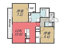 千葉県佐倉市王子台6丁目の賃貸アパートの間取り