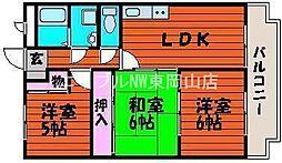 岡山県岡山市中区赤田丁目なしの賃貸マンションの間取り