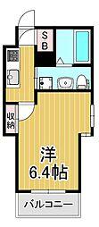 アクエリアス神戸 3階1Kの間取り