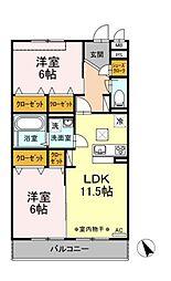 (仮称)D-room大庭[2階]の間取り