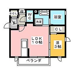 愛知県豊橋市牛川町字田ノ上の賃貸アパートの間取り