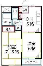 東京都府中市武蔵台3丁目の賃貸マンションの間取り