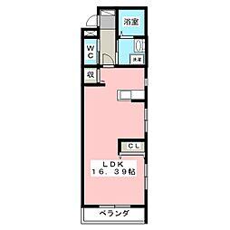 ル・リオン山手 3階ワンルームの間取り