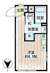 リチェンシア横浜三ッ沢 3階ワンルームの間取り