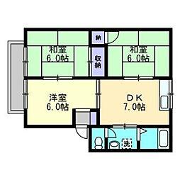 ファミリーハウス北畝[C101号室]の間取り