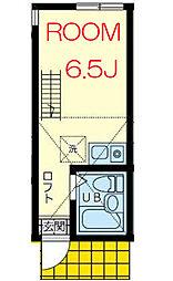 京急逗子線 六浦駅 徒歩10分の賃貸アパート 2階ワンルームの間取り