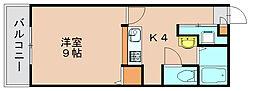 クラウンズワン箱崎[4階]の間取り