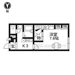 JR東海道・山陽本線 瀬田駅 徒歩27分の賃貸アパート 1階1Kの間取り