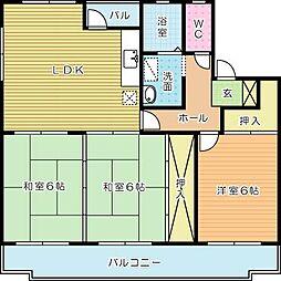 福岡県北九州市小倉南区企救丘2丁目の賃貸マンションの間取り