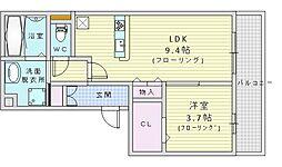 EXPO Garden 3階1LDKの間取り
