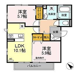 D-room可部3丁目B棟[301号室]の間取り