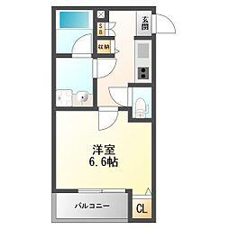 グラディート神崎川 3階1Kの間取り