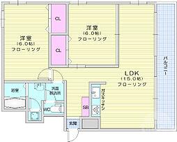 仙台市営南北線 五橋駅 徒歩25分の賃貸マンション 7階2LDKの間取り