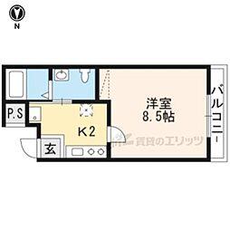 京福電気鉄道北野線 北野白梅町駅 徒歩4分の賃貸マンション 1階1Kの間取り
