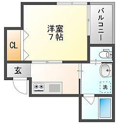 岡山電気軌道清輝橋線 清輝橋駅 徒歩3分の賃貸アパート 2階1Kの間取り