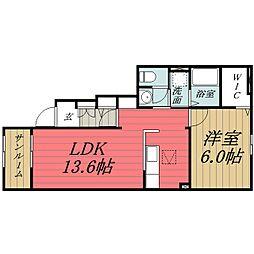 JR東金線 東金駅 徒歩9分の賃貸アパート 1階1LDKの間取り