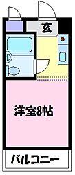 グリーンハイツ北野田 3階ワンルームの間取り