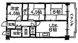 大阪府東大阪市池之端町の賃貸マンションの間取り