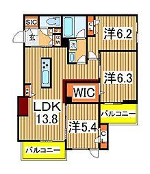仮)柏の葉キャンパスシャーメゾン 3階3LDKの間取り
