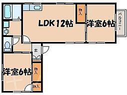 広島県広島市安芸区矢野西4丁目の賃貸アパートの間取り