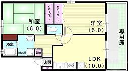 クララハイム松浜 1階2LDKの間取り