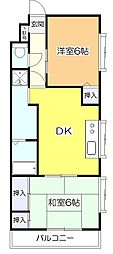 東京都東大和市向原6丁目の賃貸マンションの間取り