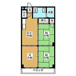 メルシーハイツ飯田A[1階]の間取り