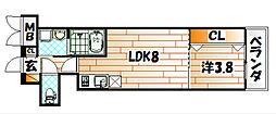 サンクレシア戸畑駅前 4階1LDKの間取り