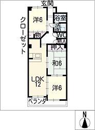 第3レオン光園[5階]の間取り