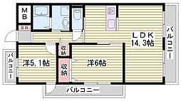 兵庫県神戸市西区王塚台の賃貸マンションの間取り