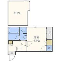 福岡県福岡市中央区白金1丁目の賃貸アパートの間取り