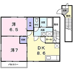 岡山県浅口市金光町占見新田の賃貸アパートの間取り