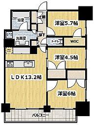 東京メトロ丸ノ内線 新宿御苑前駅 徒歩5分の賃貸マンション 11階3LDKの間取り