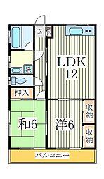花島ハイツ[1階]の間取り
