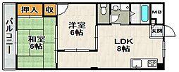 ライフイン宝塚II[302号室]の間取り