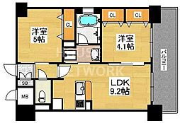 エステムプラザ京都聚楽第 雅邸[610号室号室]の間取り