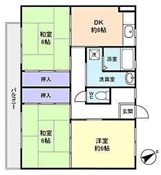 ビレッジハウス古和釜1号棟[2階]の間取り