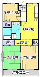 東京都国分寺市西元町3丁目の賃貸マンションの間取り