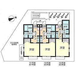 神奈川県相模原市南区西大沼1の賃貸アパートの間取り