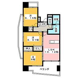 中央ハイツ海老塚[12階]の間取り