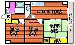 岡山県岡山市中区清水2丁目の賃貸マンションの間取り