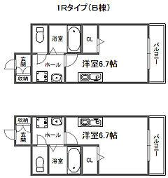福岡県糸島市泊の賃貸アパートの間取り