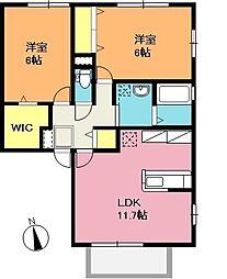 埼玉県上尾市錦町の賃貸アパートの間取り