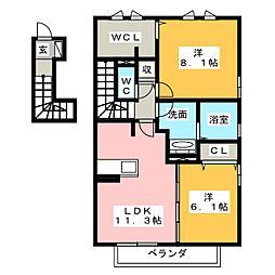 静岡県富士市久沢2丁目の賃貸アパートの間取り